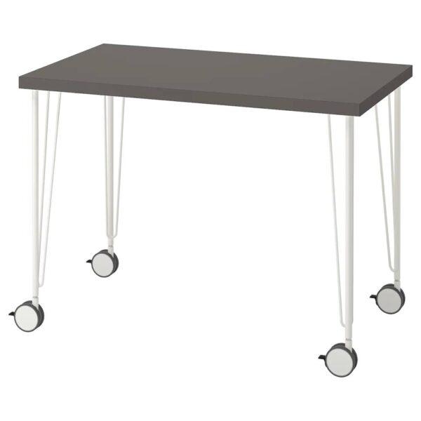 ЛИННМОН / КРИЛЛЕ Письменный стол, темно-серый/белый 100x60 см - 794.161.19