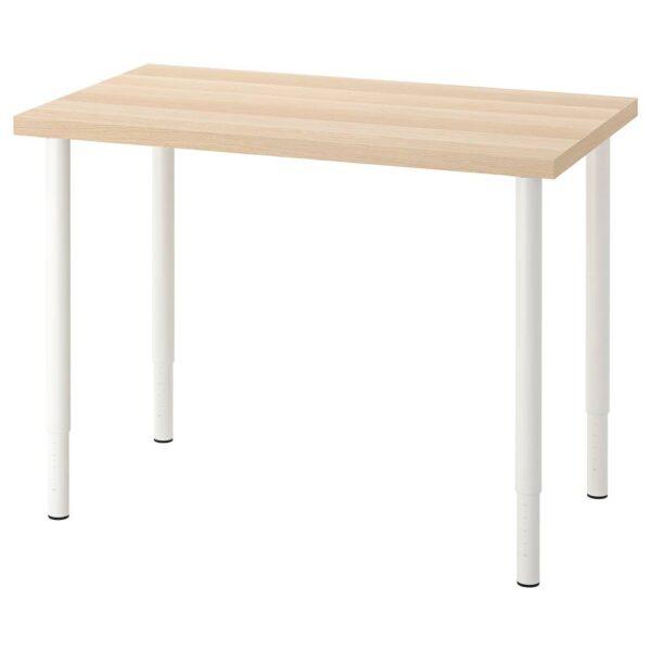 ЛИННМОН / ОЛОВ Письменный стол, под беленый дуб/белый 100x60 см - 294.163.48
