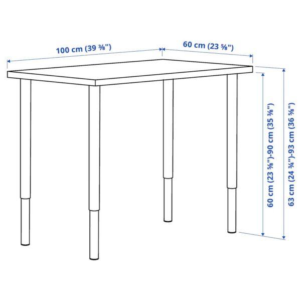 ЛИННМОН / ОЛОВ Письменный стол, под беленый дуб/черный 100x60 см - 394.163.57