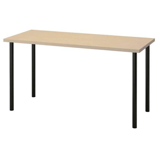 МОЛСКЮТТ / АДИЛЬС Письменный стол, береза/черный 140x60 см - 294.177.53
