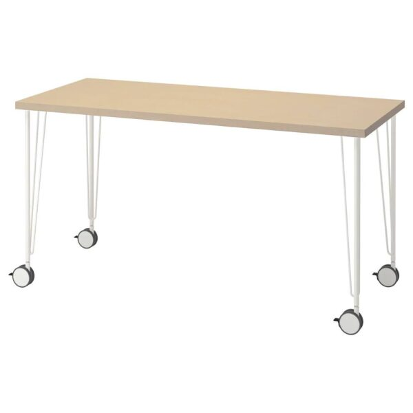 МОЛСКЮТТ / КРИЛЛЕ Письменный стол, береза/белый 140x60 см - 994.177.64