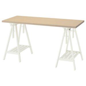 МОЛСКЮТТ / МИТТБАКК Письменный стол, береза/белый 140x60 см - 394.177.95