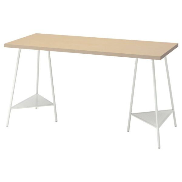 МОЛСКЮТТ / ТИЛЛЬСЛАГ Письменный стол, береза/белый 140x60 см - 994.178.01