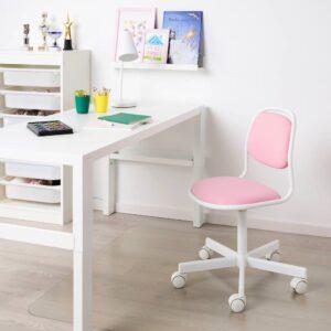 ОРФЬЕЛЛЬ Детский стул д/письменного стола, белый/Висле розовый - 904.417.73