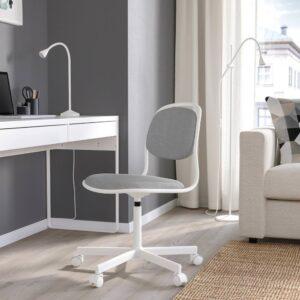 ОРФЬЕЛЛЬ Рабочий стул, белый/Висле светло-серый - 594.160.16