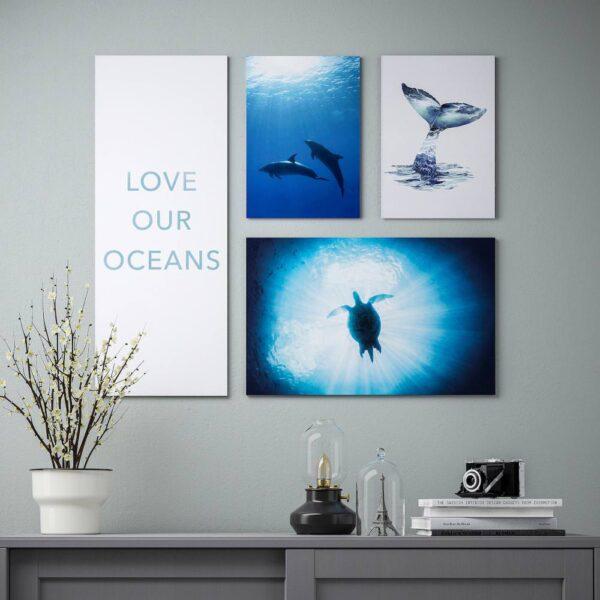 ПЬЕТТЕРИД Набор картин,4 штуки, Подводный мир 92x78 см - 404.956.12