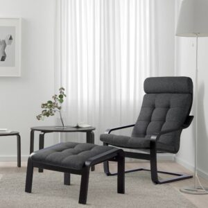 ПОЭНГ Кресло, черно-коричневый/Гуннаред темно-серый - 694.372.21