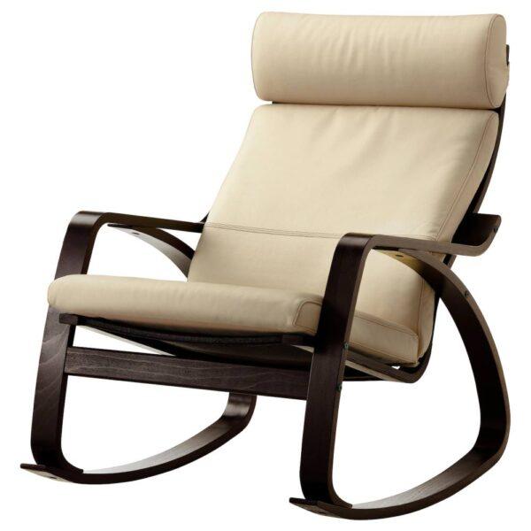 ПОЭНГ Кресло-качалка, черно-коричневый/Глосе белый с оттенком - 493.987.77