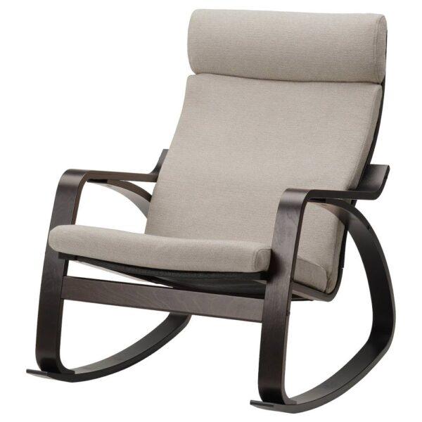ПОЭНГ Кресло-качалка, черно-коричневый/Хили бежевый - 893.987.80
