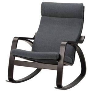 ПОЭНГ Кресло-качалка, черно-коричневый/Хили темно-серый - 293.987.78