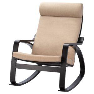 ПОЭНГ Кресло-качалка, черно-коричневый/Шифтебу бежевый - 793.987.85