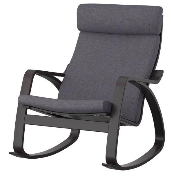 ПОЭНГ Кресло-качалка, черно-коричневый/Шифтебу темно-серый - 293.987.83