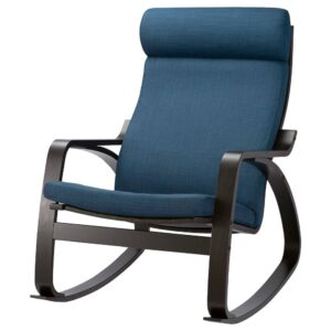 ПОЭНГ Кресло-качалка, черно-коричневый/Шифтебу темно-синий - 493.987.82