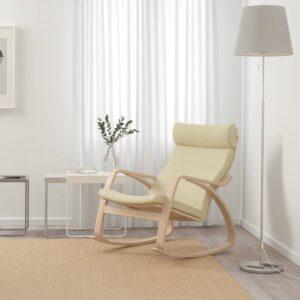 ПОЭНГ Кресло-качалка, дубовый шпон, беленый/Глосе белый с оттенком - 193.987.69