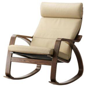 ПОЭНГ Кресло-качалка, коричневый/Глосе белый с оттенком - 193.987.88