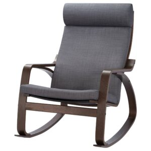 ПОЭНГ Кресло-качалка, коричневый/Шифтебу темно-серый - 193.987.93