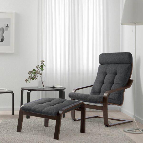 ПОЭНГ Кресло, коричневый/Гуннаред темно-серый - 294.372.23