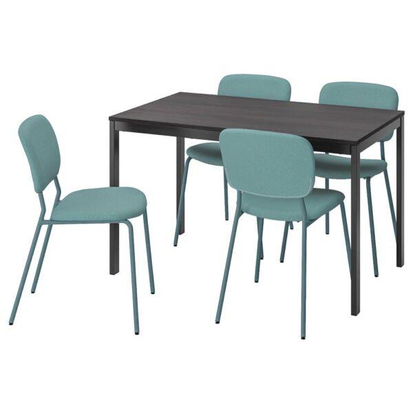 ВАНГСТА / КАРЛ-ЯН Стол и 4 стула, черный темно-коричневый/бирюзовый 120/180 см - 093.924.28