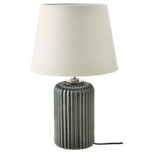 СНЁБЮАР Лампа настольная, серо-бирюзовый керамика/серый 52 см - 004.598.47