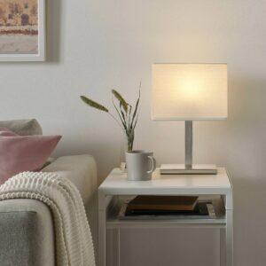ТОМЕЛИЛЛА Лампа настольная, никелированный/белый 36 см - 304.640.03