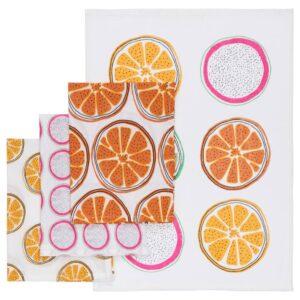 ТОРВФЛЮ Полотенце кухонное, с рисунком/оранжевый 45x60 см - 504.930.47