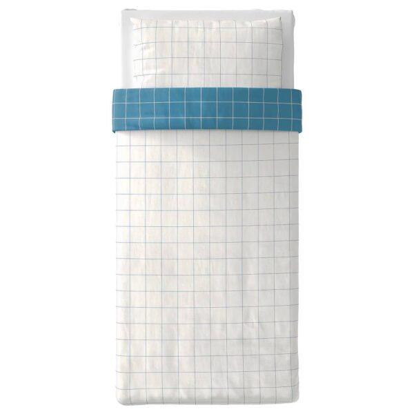 ВИТКЛЁВЕР Пододеяльник и наволочка, белый синий/клетка 150x200/50x70 см - 204.890.56