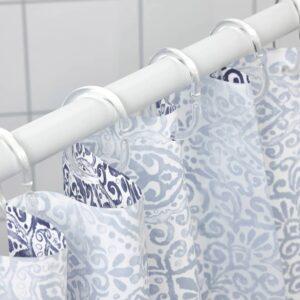 ЭНГСКЛОККА Штора для ванной, белый/синий 180x200 см - 204.967.59