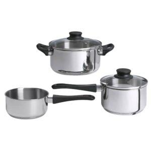 АННОНС Набор кухонной посуды, 3 предметa, стекло/нержавеющ сталь - 903.726.61