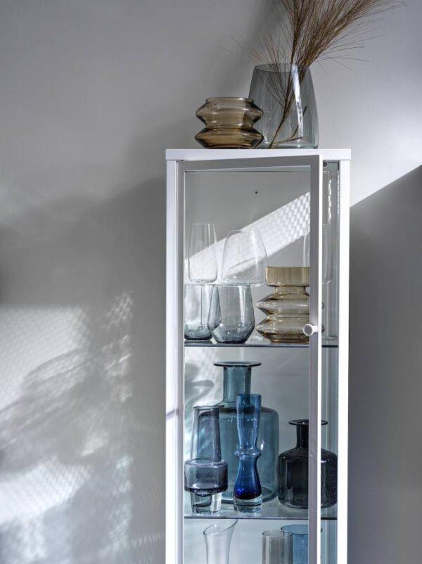 БАГГЕБО Шкаф со стеклянными дверцами, металлический/белый 34x30x116 см - 905.029.93