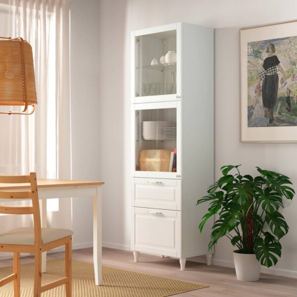 БЕСТО Комбинация д/хранения+стекл дверц, белый Смевикен/ОСТВИК/КАББАРП белый прозрачное стекло 60x42x202 см - 993.892.71