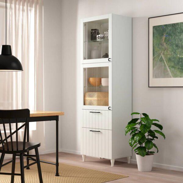БЕСТО Комбинация д/хранения+стекл дверц, белый/СУТТЕРВ/КАББАРП белый прозрачное стекло 60x42x202 см - 893.892.62