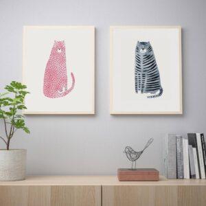 БИЛЬД Постер, розовый и синий коты 40x50 см - 405.004.68