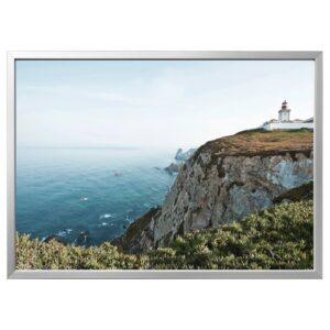 БЬЁРКСТА Картина с рамой, Мыс Рока, Португалия/цвет алюминия 140x100 см - 194.259.04