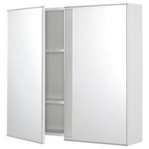 ФИСКОН Зеркальный шкаф с 2 дверцами, белый 80x15x75 см - 604.976.34