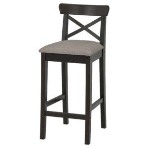 ИНГОЛЬФ Стул барный, коричнево-чёрный/Нольхага серо-бежевый 65 см - 604.787.63