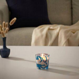 МЕДКЭМПЕ Ароматическая свеча в стакане, кот/Свежесобранная голубика синий 7.5 см - 704.967.66