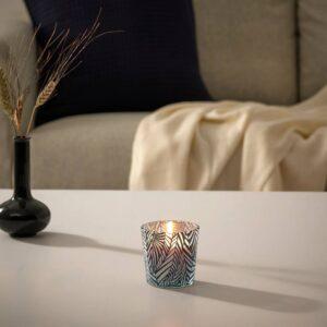 МЕДКЭМПЕ Ароматическая свеча в стакане, ревень бузина/с рисунком черный/белый 7.5 см - 104.967.69