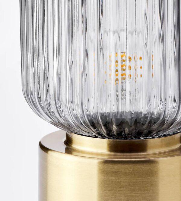 СОЛКЛИНТ Лампа настольная, латунь/серое прозрачное стекло 28 см - 904.642.84