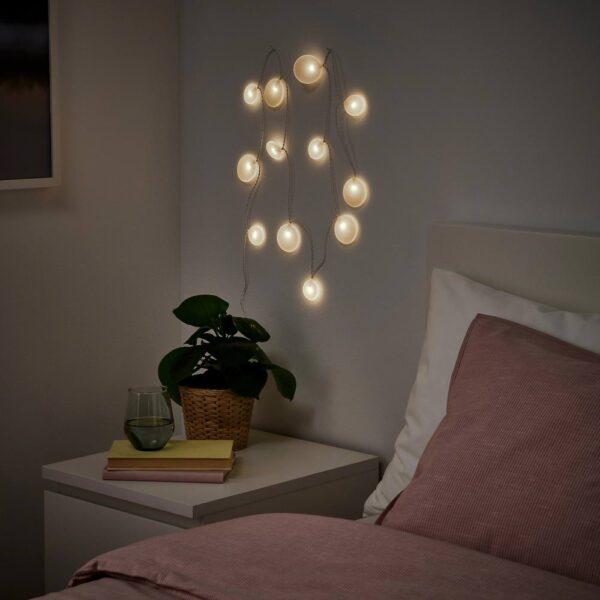 АКТЕРПОРТ Гирлянда, 12 светодиодов, с батарейным питанием/Галька белый - 505.048.47