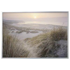 БЬЁРКСТА Картина с рамой, Рассвет на берегу/цвет алюминия 200x140 см - 194.168.72