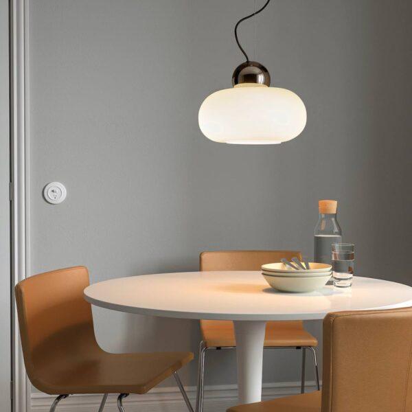 ДЕЙСА Подвесной светильник, хромированный/молочный стекло 36 см - 704.555.82