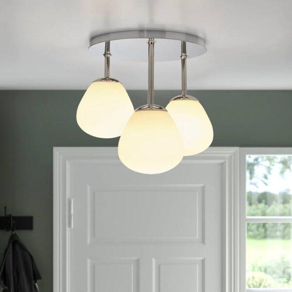 ДЕЙСА Потолочный светильник/3 лампочки, хромированный/молочный стекло - 704.780.36