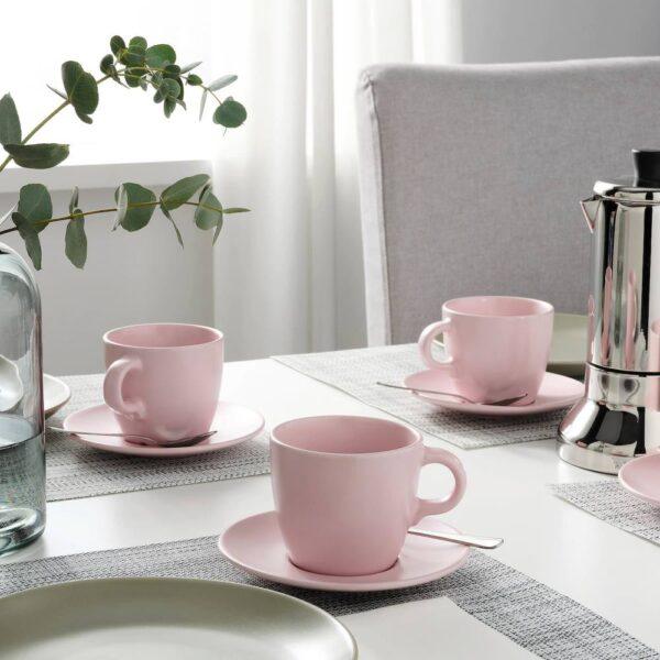 ФЭРГКЛАР Чашка с блюдцем, матовая поверхность светло-розовый 25 сл - 704.781.64
