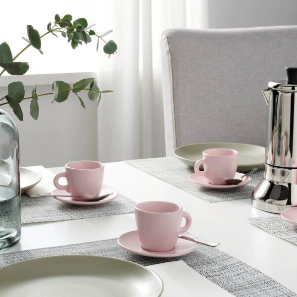 ФЭРГКЛАР Чашка с блюдцем, матовая поверхность светло-розовый 7 сл - 604.781.88