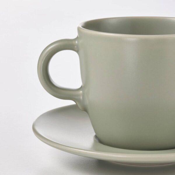 ФЭРГКЛАР Чашка с блюдцем, матовая поверхность зеленый 25 сл - 304.781.61