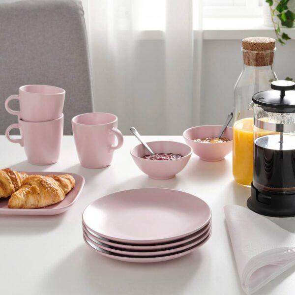 ФЭРГКЛАР Тарелка десертная, матовая поверхность светло-розовый 20 см - 404.782.12