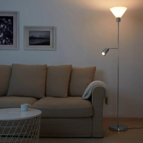 ФЛУГБУ Торшер/лампа для чтения, никелированный - 505.083.55