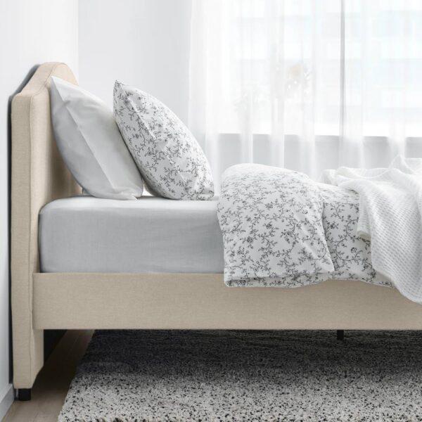 ХАУГА Каркас кровати с обивкой, Лофаллет бежевый 140x200 см - 005.063.30