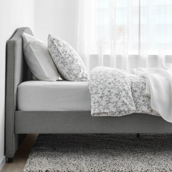 ХАУГА Каркас кровати с обивкой, Висле серый 160x200 см - 405.063.33