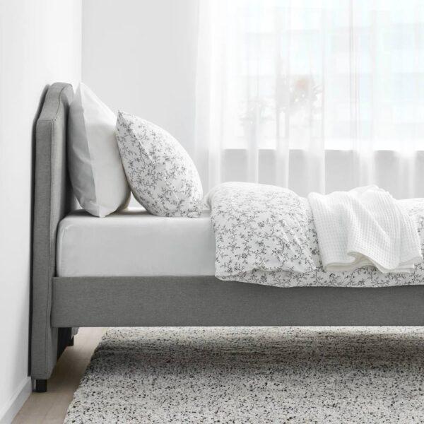 ХАУГА Каркас кровати с обивкой, Висле серый 90x200 см - 005.063.54